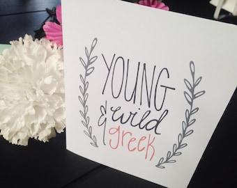 Young, Wild, Greek Card - Sorority Greeting Card - Sorority Sisters Card - Greek Life Greeting Card - Kappa Delta - Alpha Omicron Pi