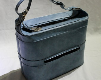 Blue 1970s luggage / overnight bag / travel in style!