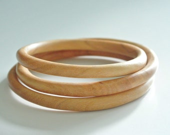 Minimalist Items, Set of 3  Real Wood Bracelets, Wooden bangle, Real Wood  Wristlet, accessories, Tiny wood bracelet, Natural accessories