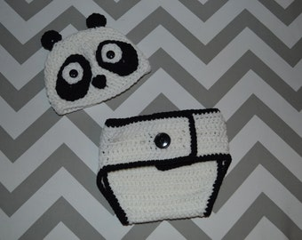 Panda Newborn Hat and Diaper Cover
