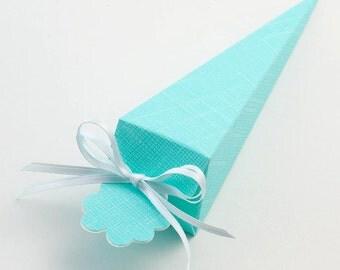 10 Celeste Blue Silk Cone Favour Boxes
