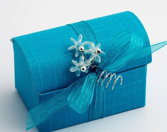 10 Turquoise Chest Favour Boxes in Silk Finish