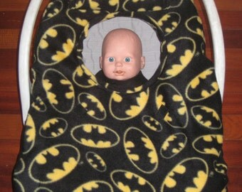 BATMAN Black FLEECE Infant Car Seat Carrier Cover - NEW! Baby cozy! Fits most infant car seats!