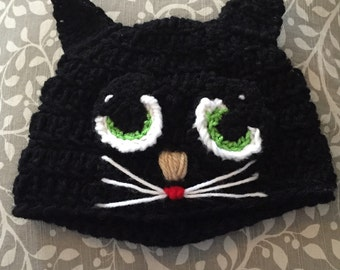 Children's Black Cat hat *any color available