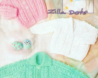 Knitting Pattern - Baby - 3 styles Cardigans in D.K. Yarn to fit sizes 35, 40, 45, 50 cm chests