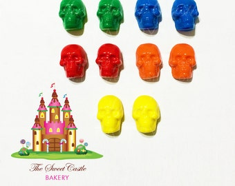 10 Edible Colorful Fondant Skulls Cake/Cupcake Toppers