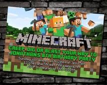 Minecraft Birthday Invitation Design Inspired Kids