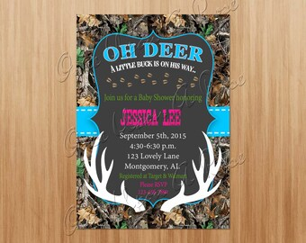Camo Baby Shower Invite, Baby Shower Invitation, Hunting Invitation, Camo