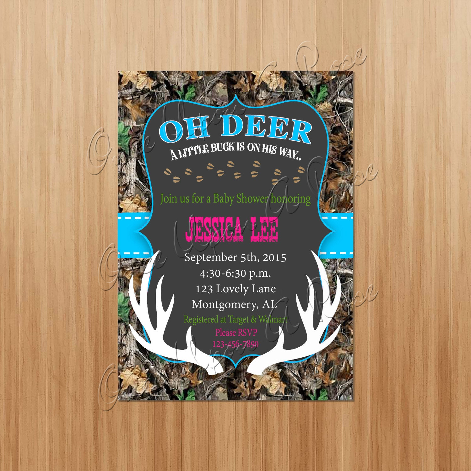 oh deer camo baby shower invite baby shower invitation