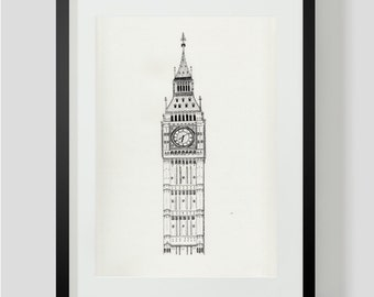 London Art Print, Travel Art Wall Decor: Big Ben Clocktower