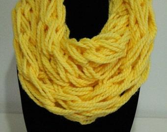 Yellow Arm Knit Scarf, Infinity Scarf, Arm Knit Scarf, Yellow Scarf, Yellow Infinity Scarf, Handmade Infinity Scarf, Handmade Scarf, Knit