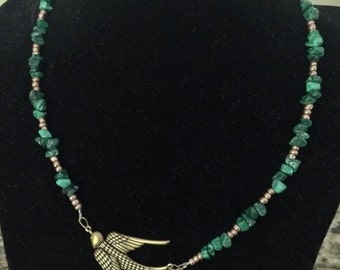 Malachite and Antiqued Brass Sparrow Necklace