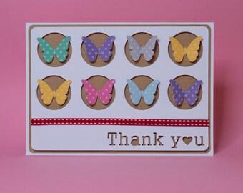 Butterflies In Circles Handmade Thankyou Card
