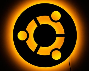 Lighted Ubuntu Logo Sign and Illuminated Wall Art