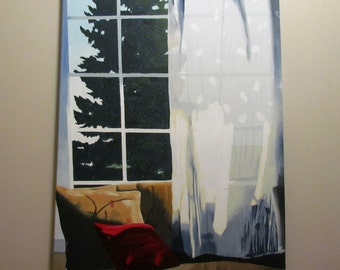 November's Window - Large Realistic Detailed Acrylic Painting