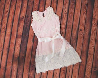 Cream Pink Lace Flower Girl Dress, Pearl Collar, Rustic Boho Chic Dress, Couture Style Photography Prop, Christmas Dress, Princess