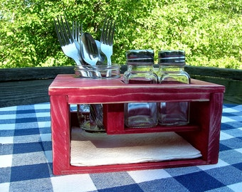 Picnic Caddy/Kitchen Table Organizer - Red, Silverware, Napkin Holder - Outdoor Dining