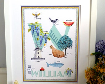 Personalised letter W print