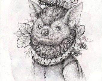 Original Drawing Fine Art «Bat»