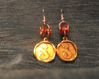 Copper Cat Coin Earrings