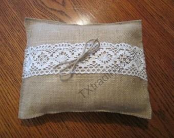 Burlap Ring Bearer Pillow 5x8 Custom size available