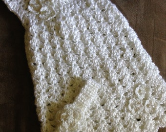 Crochet baby blessing dress, baby Christening dress, white baby dress, white lace dress