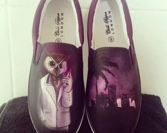 Hotline Miami/ Rasmus/ Owl Hand painted slip on shoes