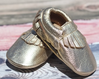 Treasure Gold Leather Baby and Toddler Moccasin