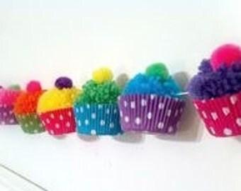 Cupcake Pom Pom Garland bunting 1m multicolour