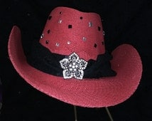 Sexy Cowboy Custom Red Hat for her! Rhinestone bling centerpiece. All hats reduced! The Black Hat Shop in etsy.com