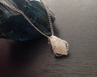 Wire wrapped raw Quartz necklace
