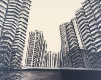 Charcoal drawing on paper. 'City Living Shanghai' 2015.