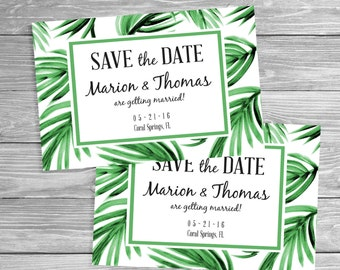 Tropical Save the Date - Green Painted Palms, Printable Digital File or Request Prints