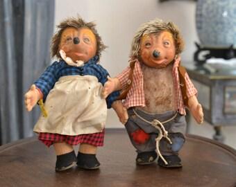 Steiff Hedgehog Dolls,  Large Macki and  Micki from the 1950's