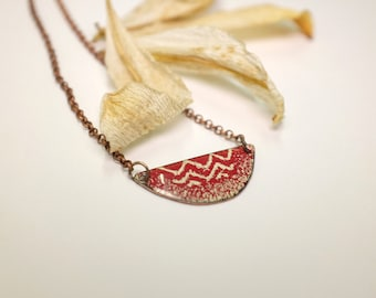 LYS / / / Necklace, enamel dark red and ivory - handmade