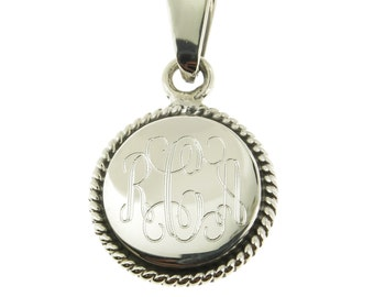 925 Sterling Silver Round Rope Edge Monogram Personalized Pendant, Add a Diamond Cut Rope Chain to make it a Necklace