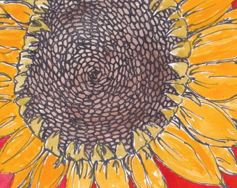 ACEO Summer Harvest Sunflower Sun Flower Original One of a Kind Mini Tiny Painting by Dasha Watercolor on Watercolor Paper.  Signed.