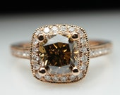 Brilliant Champagne Cushion Diamond Halo Engagement Ring in 14k Rose Gold