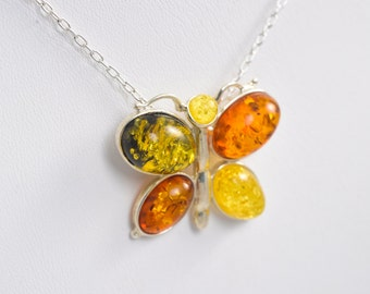 Amber Butterfly Necklace