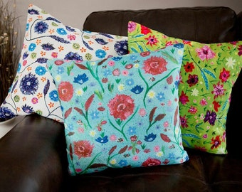 Blue floral cushion