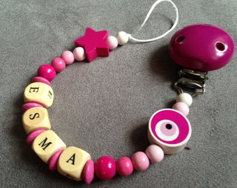 Pacifier - pacifier clip with name Esma wood beads