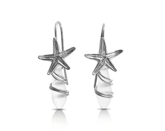 Starfish Sterling Silver Earrings, White frosted, Sea Glass Look, Sea Glass Style, Free Shipping