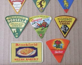 8 Vintage Paper Cheese Labels Food Labels Assorted Vintage Ephemera  Group H