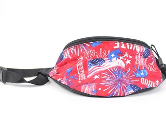 Fanny pack Republican Red Voting fabric  - Hip Waist Bag for travel, sport, and recreation with 2-zippers