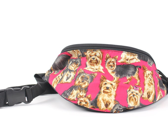 Fanny pack Terrier Dog fabric  - Hip Waist Bag for travel, sport, and recreation with 2-zippers