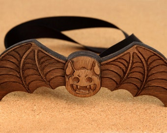 Halloween Bat Wood Bow Tie. Handmade laser cut party gift!