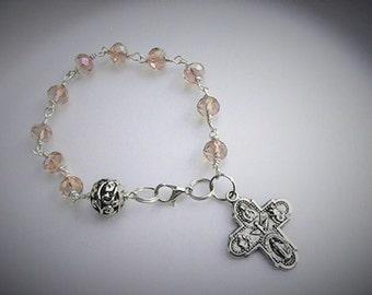 Brown Topaz Faceted Glass Beaded Rosary Bracelet