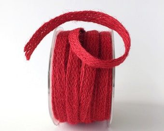 """1/2"""" Woven Burlap Ribbon in Red Jute Ribbon Natural Eco Craft Ribbon 5 Yards Ribbon Gift Wrap"""