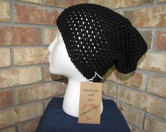 Slouchy Beanie Hat - Black Sparkle