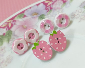 Earring Set, Pink Polka Dotted Strawberry Studs, Pink Daisy Studs, Pink Plaid Studs, Sewing Button Stud, Fruit Studs, (ES1) SALE